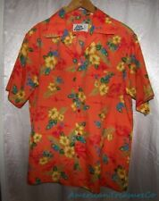 Vintage 70s Hilo Hattie Hawaiian Aloha Poly Shirt Orange w/Blue Pineapples Sz M