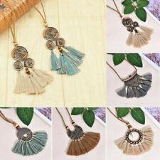 Bohemia Women Boho Spiral Tassel Pendant Necklace Long Sweater Chain Jewelry 1PC