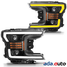 2018 2019 Ford F150 F-150 LED Tube Polished Black Projector Headlights Pair