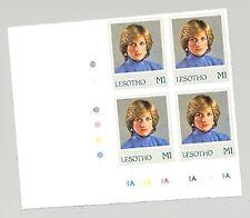 Lesotho #375 Princess Diana Birthday 1v Imperf Archival Proof Corner Block of 4