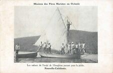HIENGHENE, NEW CALEDONIA, SCHOOL CHILDREN ON BOAT READY TO GO FISHING c 1904-14