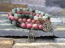 Lebensbaum Hamsa Lotus Armband Set Rhodonit Achat