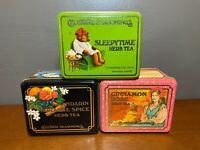 Lot of 3 VTG Celestial Seasoning Tins Cinnamon Rose, Sleepytime, Mandarin