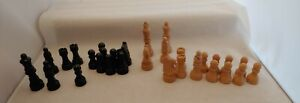 Vintage incomplete Set of Cream & Black wood  Chess Pieces