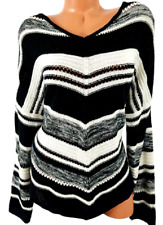 Cato white black striped long sleeves v neck stretch pullover sweater 22/24