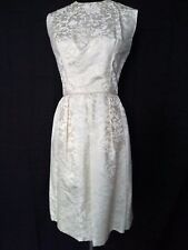 50s VINTAGE JACKIE O STYLE IVORY BROCADE COCKTAIL DRESS w BACK BOW S