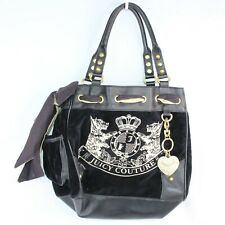 JUICY COUTURE Black Velour Daydreamer Handbag Bling Scottie Dogs Tote Purse