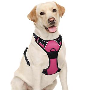 BARKBAY Dog Harness No-Pull Adjustable Dog Vest Reflective Pink/Black Large