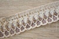 3 Meters TR827 Lace Cream Plum 50mm Wide Trim Cotton