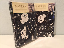 Ralph Lauren Port Palace Standard Pillow Shams Pair  Black and White Floral