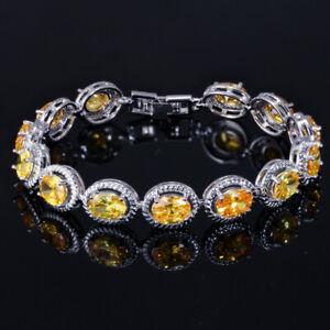 New Oval Cut Charm Yellow Citrine Gemstone Women Jewelry Gift Silver Bracelets