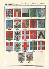 A6395 Italia - Stemmi di alcuni Capoluoghi - Stampa del 1928 - Cromolitografia