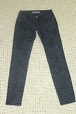 OLD NAVY Womens Sz 6 Regular Black Gray Leopard Print Skinny Ankle Pants Jeans
