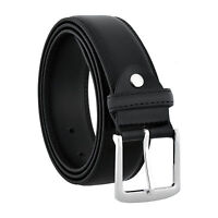 Men's Classic Jeans Dress Black Leather Belt, All Sizes, Big & Tall, S-6XL