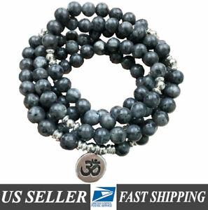 THIRD EYE CHAKRA Mala Beads 108 REAL STONE Labradorite Om Charm Healing Necklace