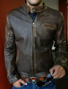 New Mens Biker Vintage Motorcycle Distressed Brown Cafe Racer Leather Jacket- ZH