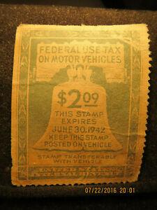 IRS Federal Use Tax on Motor Vehicles $2.09 1942 Used