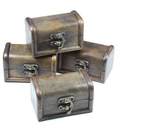 SMALL WOODEN TREASURE CHESTS (FOUR) ~ VINTAGE ~ TRINKET KEEPSAKE BOX ~ JEWELLERY