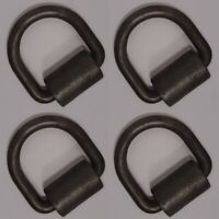 "(4) 1/2"" D-Rings with Weld-on Clips Flatbed Truck Trailer Tie Down D Ring & Clip"