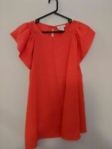 Asos Maternity Women's Top Size 12 Coral Ruffle Sleeves Tie Up Belt Keyhole Back