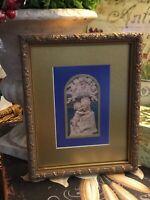 Virgin Mary & Child-Angels & Saint Overlooking-Custom Framed-Cobalt Blue/Gold