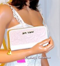 Betsey Johnson Zip Around Quilted Pink Rose & White Phone Wallet  NWT