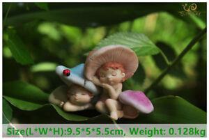 Two Sleeping Mushroom Fairies Figurine Sculpture Ornament Home Garden Decor