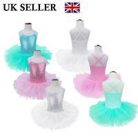 UK Kids Girls Sequined Ballet Dance Tutu Dress Ballerina Fairy Gym Show Costumes