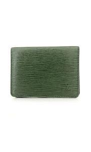 Louis Vuitton Epi Porte 2 cartes Vertical Green Leather Pass Card Case /80557