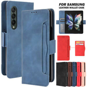 For Samsung Galaxy Z Fold 3 2 5G Magnetic Case Leather Wallet Cards Flip Cover