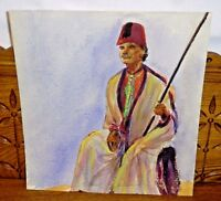 1940s Watercolor Painting Man Sitting Portrait By Jane Hill