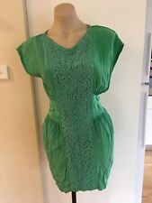 Ladies Green Silk EBONY EVE Dress Size 8 Summer Sleeveless Fitted