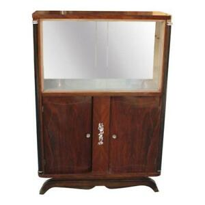 French Art Deco Macassar Ebony Bar / Display Cabinet By Jules Leleu . AS IS
