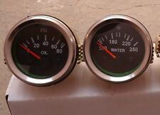 2 52mm Electrical Oil Pressure Gauge Temperature Gauge Black Face Chrome