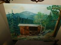 Conifer Mountains Original Oil Painting w/ Small Barn Vintage Signed Elsie Evans