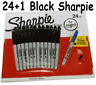 24 + 1  Sharpie Black Fine Point Waterproof Permanent Marker Pens