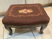 Vintage Needlepoint Floral , Brown BackgroundCarved FrenchFootstool, Nailheads