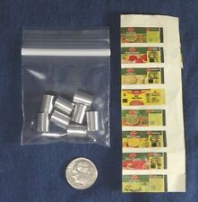 """Set of 8 Vintage Mini Dollhouse Blank Canned Goods w/ Del Monte Labels 3/8"""" tall"""