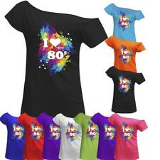 Women I Love The 80s T Shirt Ladies Off Shoulder Retro Top Hen Night Party Tee