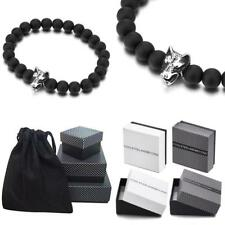 Stainless Steel Wolf Head Charm, Stretchable Mens Boys 8Mm Beads Bracelet With