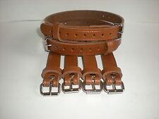 Dolls Pram Coach built vintage pram real leather  suspension straps in Tan