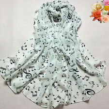 Elegant Women Lady Musical Note Chiffon Neck Scarf Shawl Muffler Scarves White