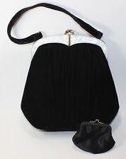 Vintage EDWARDS BAG LTD black Velvet Baguette Coin Purse 1950s pearl finish