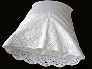New White Cotton Sateen EmbroideryLace PillowCases Standard Queen King Pair M2#