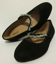 Torrid Black Suede Ballerina Flats 9 W Rhinestone Strap Mary Jane Ballet Shoes