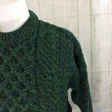 Carraig Donn Women's Sweater Wool Irish Aran Fishermans Cable Green Sz L NWT
