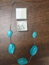 Cameo style earrings and a Turquoise Necklace