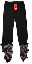 Gothic Punk Black /purple Leggings With Lace Trimming Detail Size Xs Uk 4/6