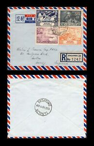Singapore 1949 registered cover to England, franked UPU set with Tanglin pmk.