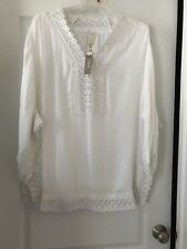 NWT Chico's Sz 3 (16) White Tunic W/ Lace Trim On Sleeves/ Neckline & Hemline!!